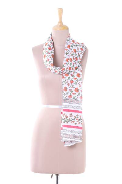 Cotton scarf, 'Spring Allure' - Handmade Spring Allure Floral Block Printed Cotton Scarf