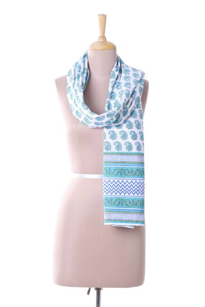 Cotton scarf, 'Paisley Elegance' - Blue White and Green Paisley Chevron Vines Cotton Scarf