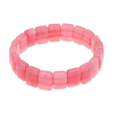Agate Beaded Stretch Bracelet in Pink from India