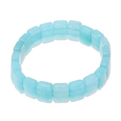 Agate Beaded Stretch Bracelet in Blue from India