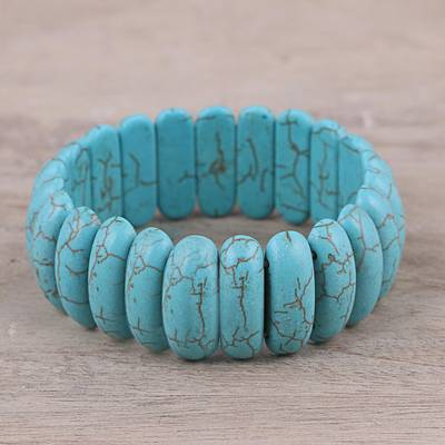 Beaded stretch bracelet, 'Cool Water' - Reconstituted Turquoise Cool Water Beaded Stretch Bracelet