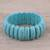 Beaded stretch bracelet, 'Cool Water' - Reconstituted Turquoise Cool Water Beaded Stretch Bracelet thumbail