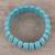 Beaded stretch bracelet, 'Cool Water' - Reconstituted Turquoise Cool Water Beaded Stretch Bracelet (image 2b) thumbail