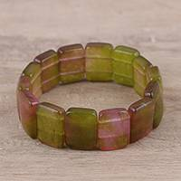 Aventurine beaded stretch bracelet, 'Garden Allure' - Green Pink Aventurine Garden Allure Beaded Stretch Bracelet