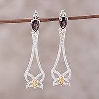 Smoky quartz and citrine dangle earrings, 'Textured Butterflies' - Smoky Quartz and Citrine Butterfly Earrings from India