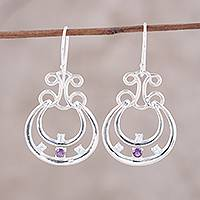 Amethyst and blue topaz dangle earrings, 'Graceful Swings' - Amethyst and Blue Topaz Dangle Earrings from India