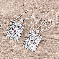 Garnet dangle earrings, 'Floral Pictures' - Rectangular Floral Garnet Dangle Earrings from India