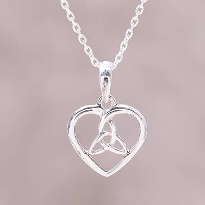Sterling silver pendant necklace, 'Knot of Love' - Sterling Silver Heart and Knot Minimalist Pendant Necklace