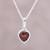 Garnet pendant necklace, 'Flaming Heart' - Sterling Silver Red Garnet Flaming Heart Pendant Necklace thumbail