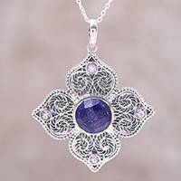 Lapis lazuli and amethyst pendant necklace, 'Garden Glamour' - Sterling Silver Lapis Lazuli and Amethyst Pendant Necklace