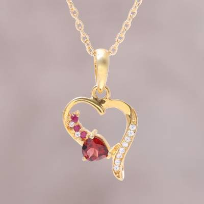 Multi-gemstone pendant necklace, 'Dazzling Heart' - Gold Plated Sterling Silver Gemstone Heart Pendant Necklace