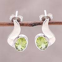 Peridot drop earrings, 'Green Apple Glow' - Oval Faceted Peridot and Sterling Silver Drop Earrings