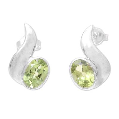 Oval Faceted Peridot and Sterling Silver Drop Earrings