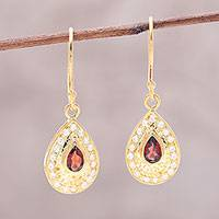 Gold plated garnet dangle earrings, 'Dazzling Fire' - Garnet Gold Plated Sterling Silver Teardrop Dangle Earrings