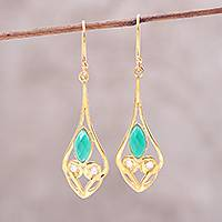 Gold plated onyx dangle earrings, 'Bejeweled Rain Drops' - Gold Plated Green Onyx and Cubic Zirconia Dangle Earrings