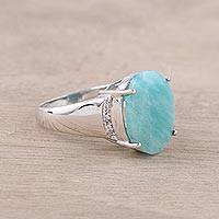 Rhodium plated amazonite cocktail ring, 'Cosmic Ocean' - Rhodium Plated Amazonite and Topaz Cocktail Ring from India