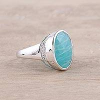 Rhodium plated amazonite cocktail ring, 'Celestial Sea' - Amazonite and Topaz Cocktail Ring with a Rhodium Plating
