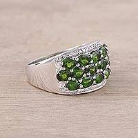 Rhodium plated chrome diopside cocktail ring, 'Verdant Dazzle' - Sterling Silver Green Chrome Diopside Cocktail Ring