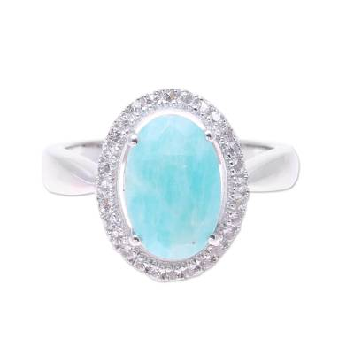 Sterling Silver Blue Amazonite White Topaz Cocktail Ring