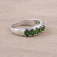 Rhodium plated chrome diopside cocktail ring, 'Shimmering Green' - Sterling Silver Green Chrome Diopside Cocktail Ring