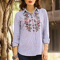Cotton blouse, 'Stripes and Blooms' - Striped Cotton Long Sleeved Blouse with Floral Embroidery