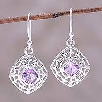 Amethyst dangle earrings, 'Webbed Kites' - Webbed Amethyst Dangle Earrings from India