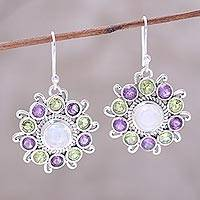 Multi-gemstone dangle earrings, 'Goddess Blooms' - Sterling Silver Rainbow Moonstone Floral Dangle Earrings