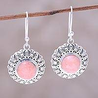 Opal dangle earrings, 'Pink Renewal' - Handcrafted Sterling Silver Pink Opal Round Dangle Earrings