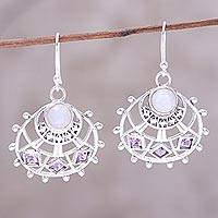 Rainbow moonstone and amethyst dangle earrings, 'Peaceful Union' - Sterling Silver Rainbow Moonstone Amethyst Dangle Earrings
