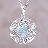 Blue topaz and larimar pendant necklace, 'Blue Wheel' - Sterling Silver Larimar Blue Topaz Round Pendant Necklace