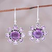 Amethyst dangle earrings, 'Purple Reflection' - Sterling Silver and Purple Amethyst Floral Dangle Earrings