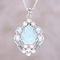 Multi-gemstone pendant necklace, 'Basket of Blossoms' - Blue Topaz and Cultured Pearl Necklace with Larimar