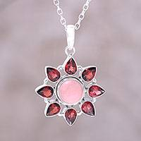 Garnet and opal pendant necklace, 'Glowing Flower' - Pink Opal and Garnet Sterling Silver Flower Necklace