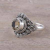 Novica Citrine flower ring, Perfect Petals - Floral Jewelry Sterling Silver and Citrine Cocktail Ring