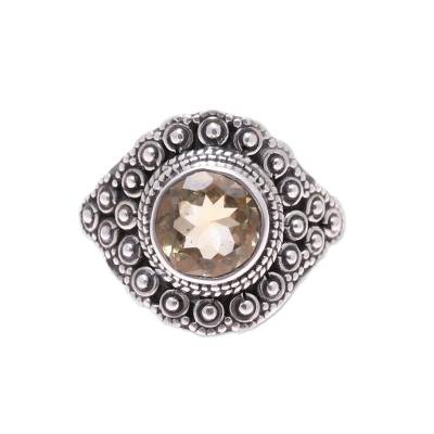 Contemporary Indian Sterling Silver Citrine Cocktail Ring