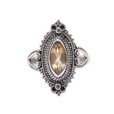 Ornate Sterling Silver and Yellow Citrine Cocktail Ring