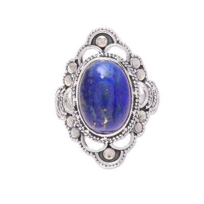 Blue Lapis Lazuli and Sterling Silver Cocktail Ring