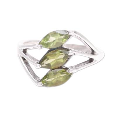 Green Peridot Leaf Trio Sterling Silver Multi-Stone Ring