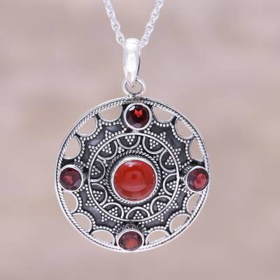Red garnet and carnelian round medallion pendant necklace red carnelian and garnet pendant necklace red medallion red garnet and carnelian round mozeypictures Gallery