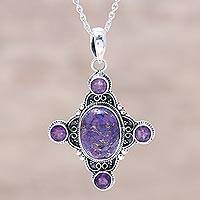 Amethyst pendant necklace, 'Lavender Star' - Sterling Silver and Amethyst Lavender Star Pendant Necklace