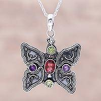 Multi-gemstone pendant necklace, 'Butterfly Mosaic' - Sterling Silver Multi-Gemstone Butterfly Pendant Necklace