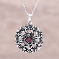 Garnet pendant necklace, 'Arrow Medallion' - Sterling Silver and Red Garnet Medallion Pendant Necklace