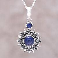 Lapis lazuli pendant necklace, 'Royal Star' - Sterling Silver Lapis Lazuli Royal Star Pendant Necklace