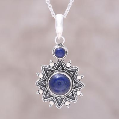 Sterling silver lapis lazuli royal star pendant necklace royal lapis lazuli pendant necklace royal star sterling silver lapis lazuli royal star aloadofball Images
