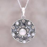 Cultured freshwater pearl pendant necklace, 'Ocean Bliss' - Sterling Silver and White Cultured Freshwater Pearl Necklace