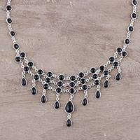 Onyx waterfall necklace, 'Midnight Harmonies' - Black Onyx and Sterling Silver Midnight Waterfall Necklace