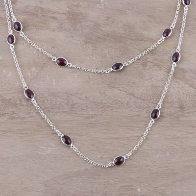 Garnet station necklace, 'Floating Red Flowers' - Red Garnet and Sterling Silver Station Necklace
