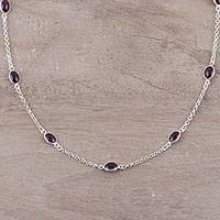 Garnet station necklace, 'Drifting Blooms' - Garnet and Sterling Silver Drifting Blooms Station Necklace
