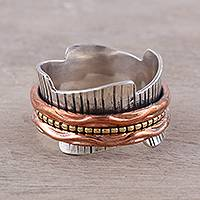 Sterling silver, copper and brass meditation ring, 'Eclectic Union' - Sterling Silver Copper and Brass Spinner Meditation Ring