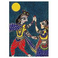 Madhubani painting, 'Beloved Radha and Krishna' - Original Madhubani Painting of Radha and Krishna from India